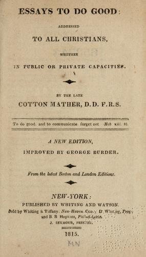 Essays to do good cotton mather summary