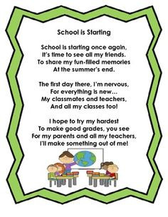 Back to School Poem FREEBIE! :)