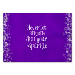 Purple Girly Inspirational Sparkle Quote Business Card
