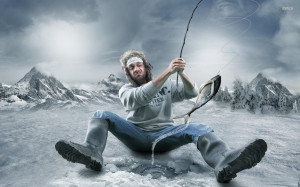 Artistic Ice Man Fish Fishing
