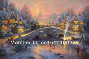 Thomas Kinkade Spirit of Christmas canvas print oil painting | huge ...