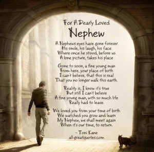 For A Dearly Loved Nephew - A Nephews eyes have gone forever, his ...