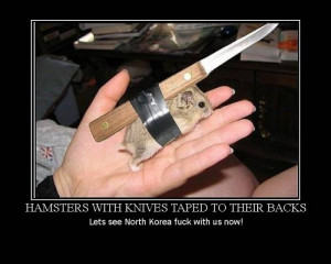 Hamsters With Knives Taped To Their Backs
