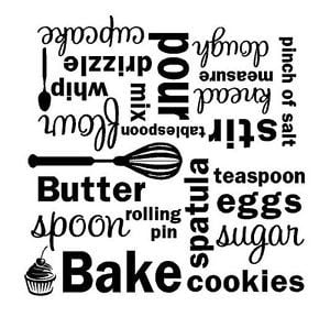 KITCHEN-Bake-Mixer-Vinyl-Wall-Decal-Wall-Quote-Subway-Art-Letters ...