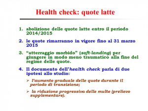 Health check quote latte 1 abolizione delle quote latte entro il