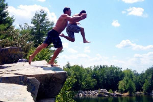 Cliff jumping into the quarry. http://pic.twitter.com/kcYhlqUg Via ...