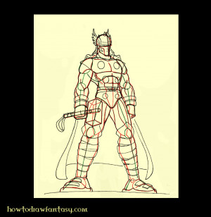 Learn to draw Thor, super- Marvel Comics heroes step 3