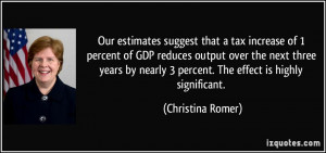 Our estimates suggest that a tax increase of 1 percent of GDP reduces ...