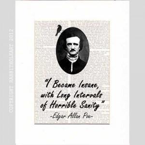 EDGAR ALLAN POE Quote Insane typography art print on upcycled vintage ...