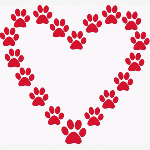 Paw Print Heart Stencil Dog Lover or Cat Lover