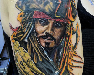 ... of the famous movie pirates of the caribbean carved on shoulder