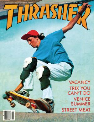Tony Hawk na capa da Thrasher Magazine (novembro/1986. Foto: Mofo)