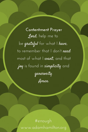 Contentment Prayer Adam Hamilton