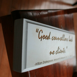 Shakespeare Quote on Lawyers Engraved in Wood