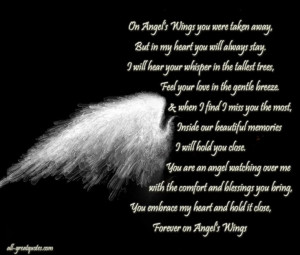 On Angels Wings You Were Taken Away, In loving memory cards ...