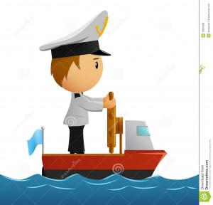 Vector illustration. Cartoon captain sailor in uniform on the ship.