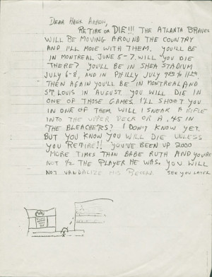 Jackie Robinson Death Threat Letters Included death threats,