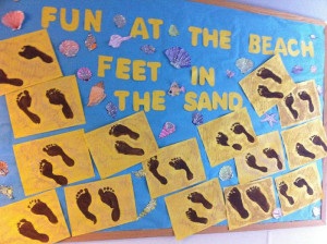 Feet In The Sand - Footprint Beach Themed Summer Bulletin Board Idea