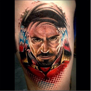 Iron Man Color Portrait Tattoo by Benjamin LaukisTattoo Ideas, Stark ...