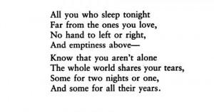 "Vikram Seth, ""All You Who Sleep Tonight"""