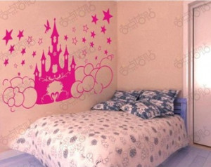 Crown Princess Castle cartoon Lovely Removable Wall Decals Vinyl Art ...