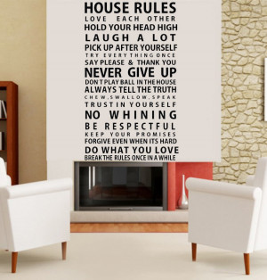 House Rule quote wall art decal for home Large Black vinyl wall ...