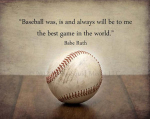 Baseball Art: Vintage Baseball Photo Print Featuring a Babe Ruth Quote ...