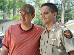 Still of Alex Kendrick and Kevin Downes on the set of Courageous