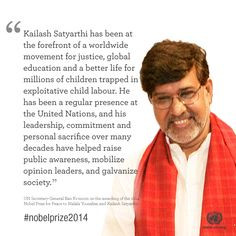 new Nobel Peace Prize laureates Malala Yousafzai and Kailash Satyarthi ...