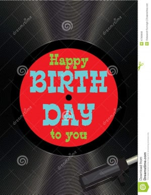 Vector template greeting card happy birthday on vinyl.