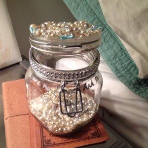 pearled quote jar with silver ring holder inside... engagement gift ...