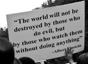 The world will not be destroyed by those who do evil, but by those who ...