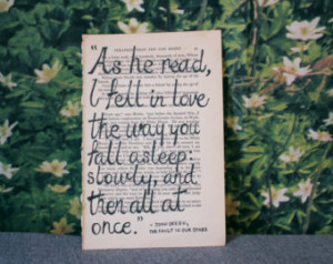 Original ink drawing on naturally antiqued book page, John Green quote