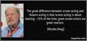 between screen acting and theatre acting is that screen acting ...