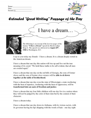 nov 5 2013 if you have a copy of the i have a dream speech in written ...