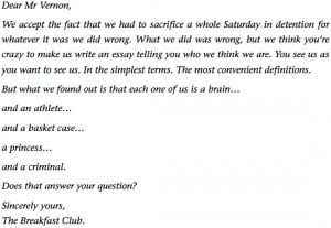 BRIAN'S ESSAY FROM THE BREAKFAST CLUB