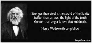 Stronger than steel is the sword of the Spirit; Swifter than arrows ...
