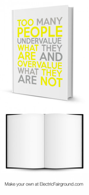... UNDERVALUE WHAT THEY ARE AND OVERVALUE WHAT THEY ARE NOT Framed Quote