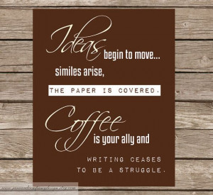 Quote from Honore de Balzac. So true! I can't write without my coffee.