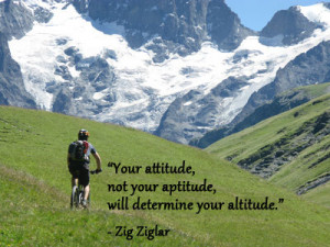 Mountain biking in snow capped mountains with Zig Ziglar quote about ...