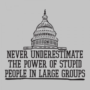 ... UNDERESTIMATE THE POWER OF STUPID PEOPLE IN LARGE GROUPS FUNNY T-SHIRT