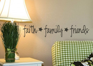 Faith Family Friends vinyl wall decal Primitive Decor wall lettering ...