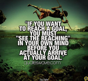 If you want to reach a goal, you must 'see the reaching' in your own ...