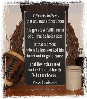 Vince Lombardi Victorious Quote -Wood Sign- Home Office Decor Football ...