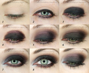 pink and black eye makeup