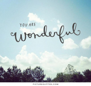 You are wonderful Picture Quote #1