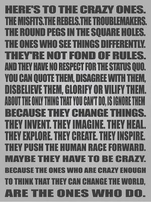 Crazy Ones - Steve Jobs Picture Quote