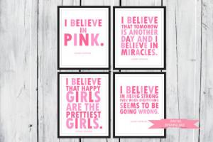 Audrey Hepburn quote: I Believe in Pink. 4 prints one low price. 8x10 ...