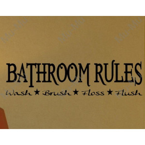 BATHROOM RULES DECAL WALL VINYL STICKER LETTER WORDS SAYINGS WASHROOM ...