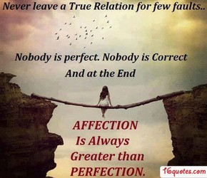 Never Leave a True Relation For Few Faults. Nobody Is Perfect. Nobody ...